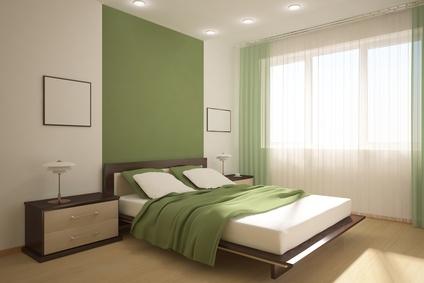 Маслено зелена спалня по проект