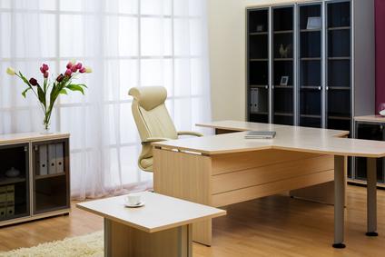 Цветя на фона на прозореца и новите мебели в модерен офис