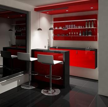 Модерен интериор за хол. Червен бар